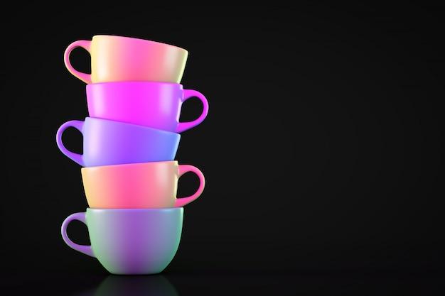 Ciemne stosu kilka kolorowych kubków herbaty