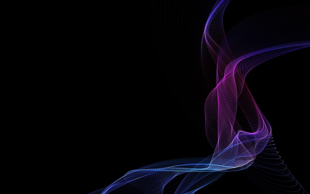 Ciemne tło abstrakcyjne ze świecącymi falami streszczenie
