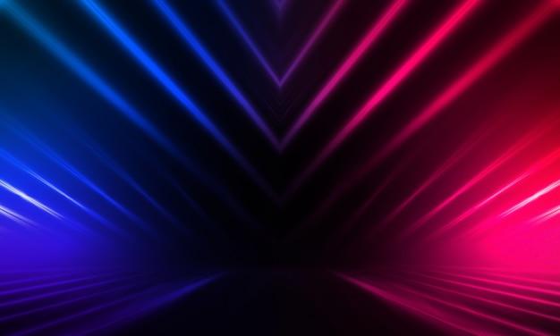 Ciemne tło z neonowymi liniami i promieniami