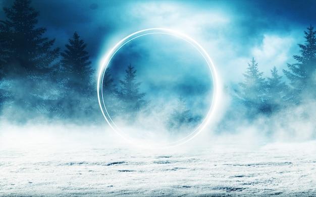 Ciemnej zimy lasowy tło przy nocą