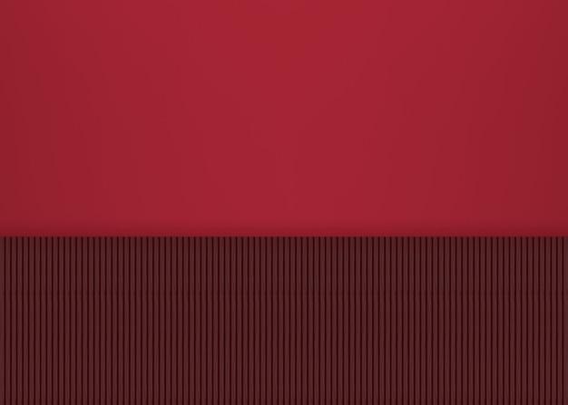 Ciemni drewno panel wiosłują dekorować na czerwieni ściany tle.