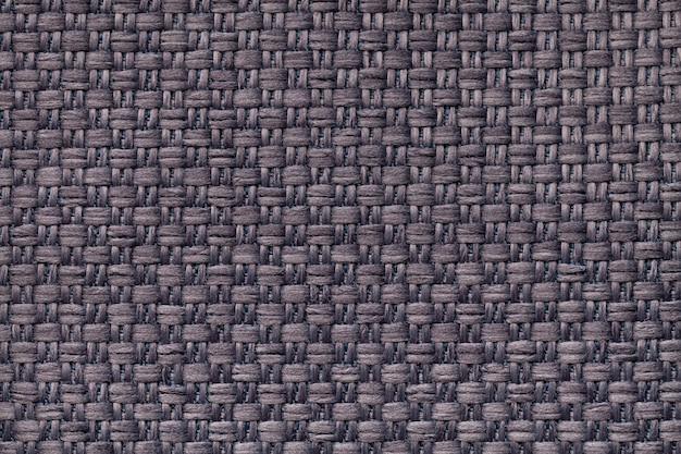 Ciemnobrązowe tło włókiennicze w kratkę. struktura makra tkaniny.