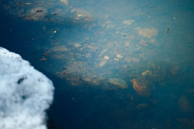 Ciemnoniebieska woda wczesną wiosną z drzazgami i śniegiem na wybrzeżu