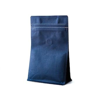 Ciemnoniebieskie papierowe opakowanie ziplock z zaworem do palonych ziaren kawy