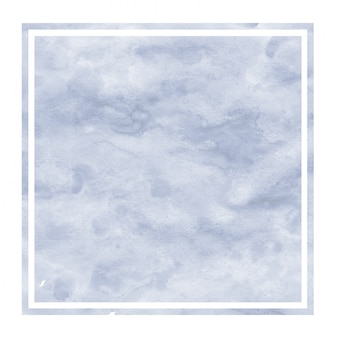 Ciemnoniebieskie ręcznie rysowane akwarela prostokątna ramka tekstura tło z plamami