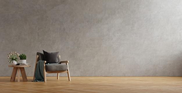 Ciemnoszary fotel i drewniany stół we wnętrzu salonu z rośliną