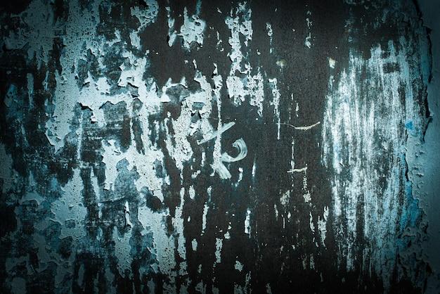 Ciemnozielona fala, niebieska, turkusowa tekstura. stare zardzewiałe tła ścienne. szorstkość i pęknięcia. ramka, winieta