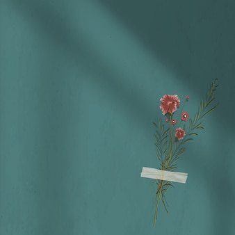 Ciemnozielone tło cienia ściany z dekoracją kwiatową