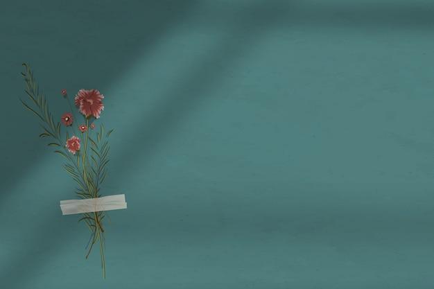 Ciemnozielone tło cienia ściany z kwiatem