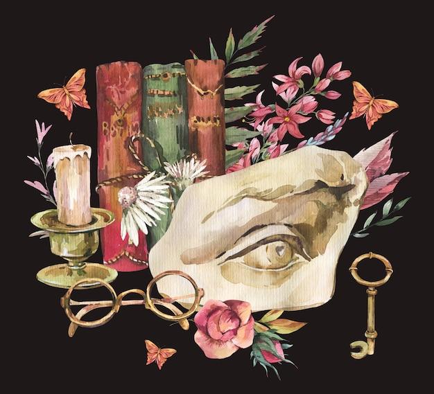 Ciemny akademia kwiatowy vintage ilustracji. grecka rzeźba david oko z suchymi kwiatami, motylem i okularami, książki, stary klucz na białym na czarnym tle.
