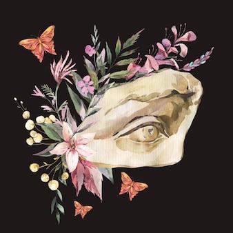 Ciemny akademia kwiatowy vintage ilustracji. grecka rzeźba oko dawida z suchymi kwiatami, motyl na białym tle na czarnym tle.