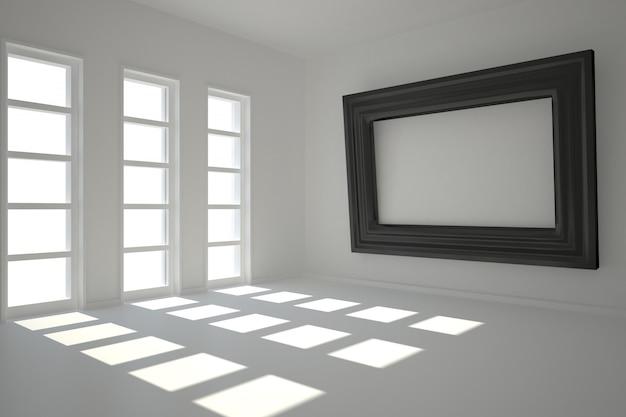Ciemny biały pokój z ramą przy ścianie
