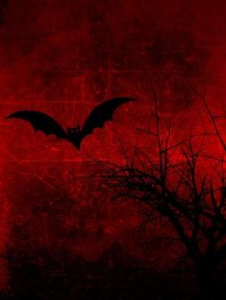 Ciemny grunge z spooky drzewa i halloween bat