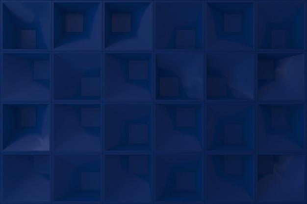 Ciemny niebieski 3d kwadratowy kształt ściany na tle.