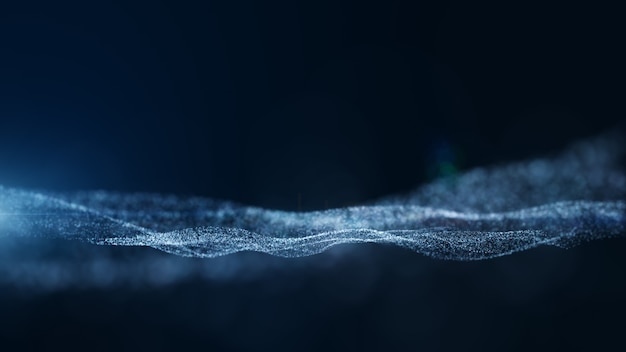 Ciemny niebieski i blask abstrakcyjne tło cząstek. renderowanie 3d