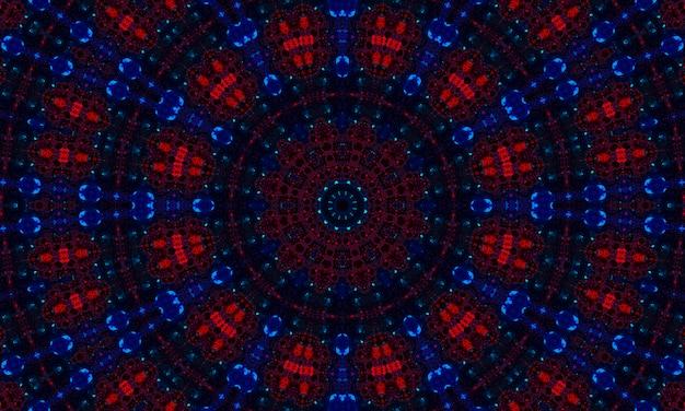 Ciemny niebieski i czerwony wzór kalejdoskopu. piękna mandala tekstura ilustracja projekt. abstrakcyjne tło kalejdoskopu