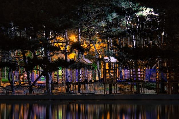 Ciemny nocny widok na park z małymi domkami, drabinami i schodami, kolorowe światła odbijające się w wodzie