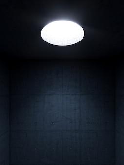 Ciemny pokój z betonowymi ścianami i okrągłym otworem w suficie, przez który wpada światło.