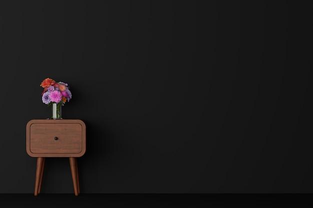 Ciemny pokój ze stołem i kwiatkiem w wazonie. renderowanie 3d.