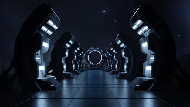 Ciemny, pusty korytarz drzwi do przyszłości.