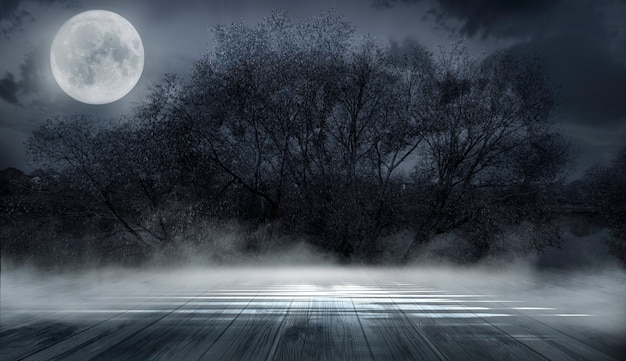 Ciemny streszczenie tło zima las.