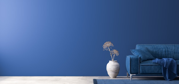 Ciemny wystrój domu z niebieskimi meblami