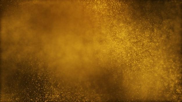 Ciemny złoty żółty brązowy i blask cząsteczki pyłu streszczenie tło.