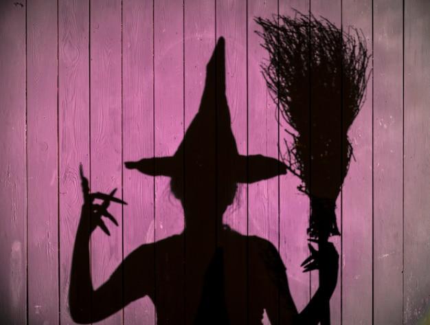 Cień czarownicy na fioletowym tle