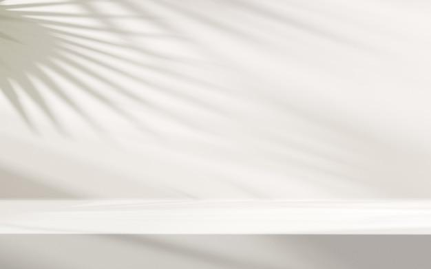 Cień liści na białym tle do prezentacji produktu.