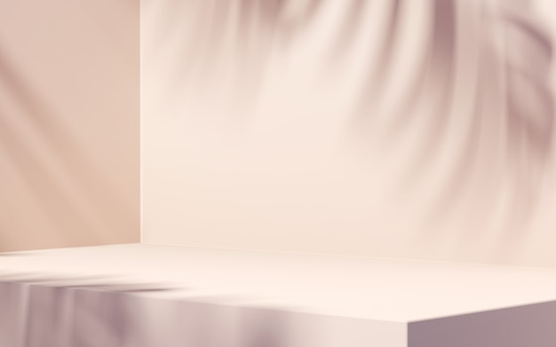 Cień liścia na białym tle do prezentacji produktu
