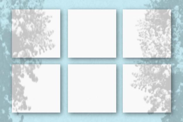 Cienie egzotycznej rośliny na kilku poziomych i pionowych arkuszach białego papieru teksturowanego