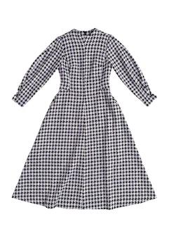 Ciepła damska sukienka w szachownicę na białym tle