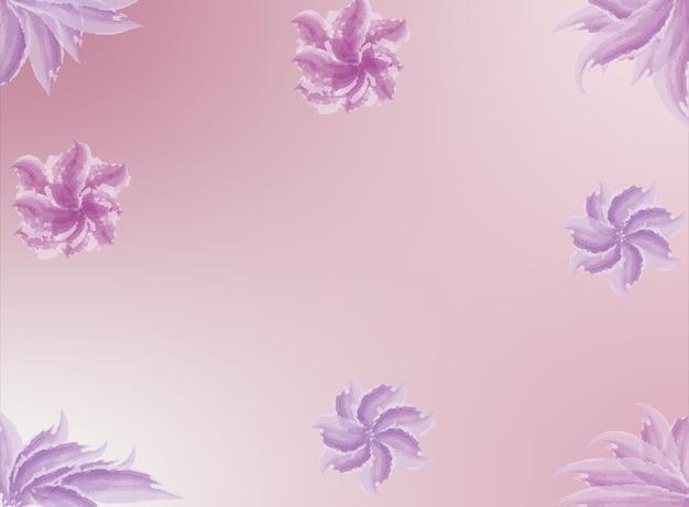 Ciepłe słodkie beżowe tło z akwarelą w różowe kwiaty