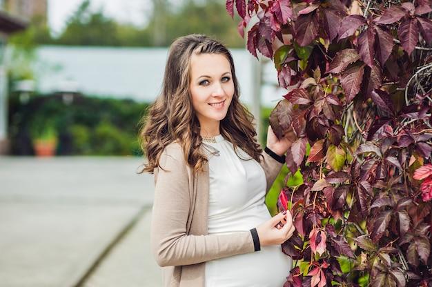 Ciężarna młoda kobieta stojąca na czerwonym żywopłocie jesienią