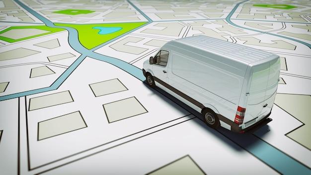 Ciężarówka na drogowej mapie miasta