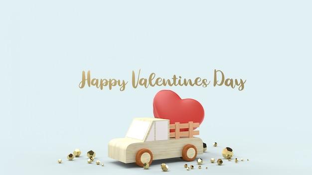 Ciężarówka z drewna i czerwone serca na zawartość walentynek.