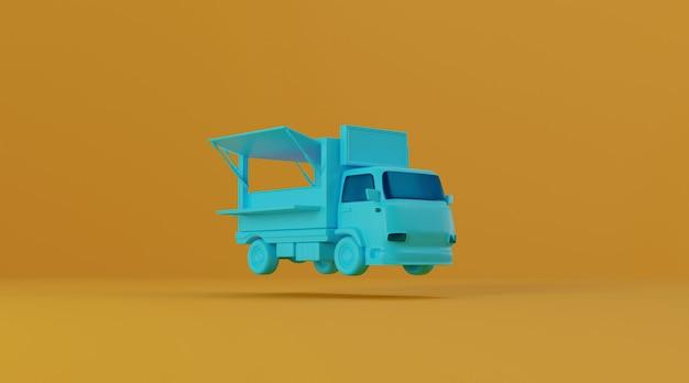Ciężarówka z jedzeniem na żółtym tle.