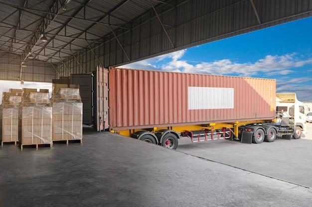 Ciężarówka z przyczepą zaparkowana załadunek w doku magazyn spedycyjny logistyka magazynowa przemysł wysyłek towarowych transport ciężarówkami towarowymi
