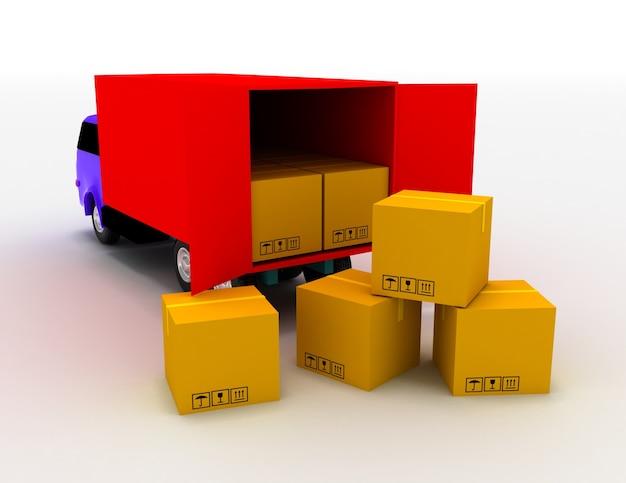 Ciężarówka z pudłami