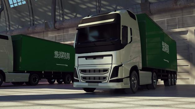 Ciężarówki cargo z flagą arabii saudyjskiej. ciężarówki z arabii saudyjskiej ładujące lub rozładowujące się w doku magazynowym. renderowania 3d.
