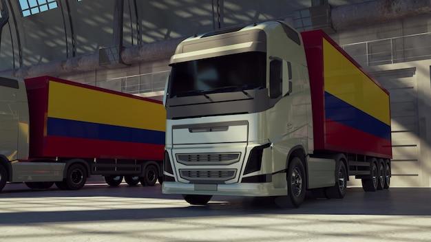 Ciężarówki cargo z flagą kolumbii. ciężarówki z kolumbii ładujące lub rozładowujące się w doku magazynowym. renderowania 3d.