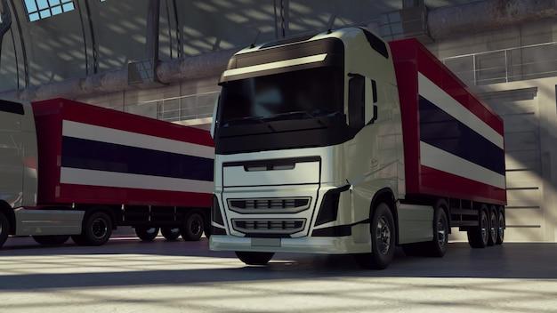 Ciężarówki cargo z flagą tajlandii. ciężarówki z tajlandii ładujące lub rozładowujące się w doku magazynowym. renderowania 3d.