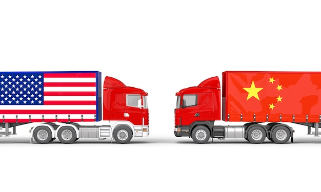 Ciężarówki z flagą usa i chin skierowane do siebie