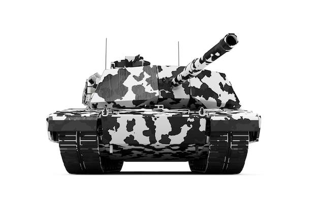 Ciężki czołg wojskowy w kamuflażu zimowym na białym tle