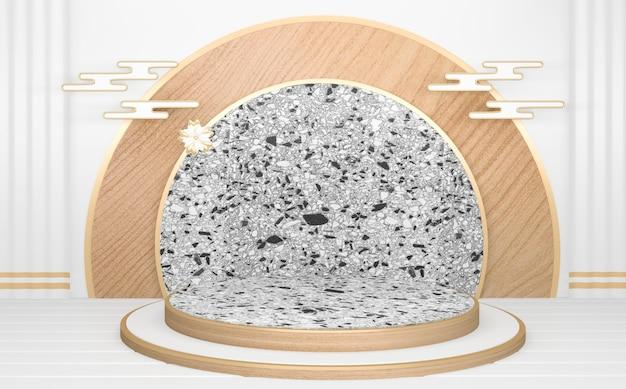 Circle white drewniane podium minimalne geometryczne abstrakcyjne. renderowania 3d