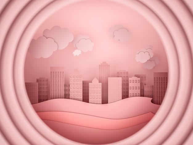 City scape papierowy styl wycinanki. ilustracja 3d