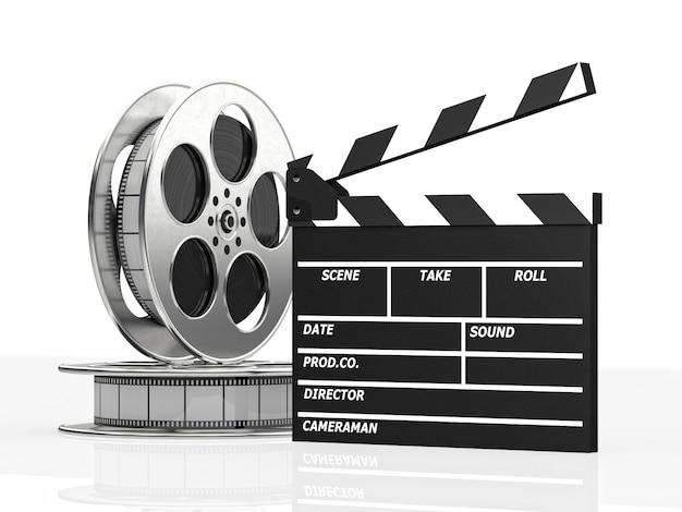 Clapboard i rolka filmu