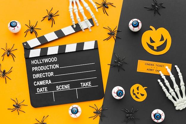 Clapperboard widok z góry na koncepcję halloween