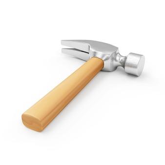 Claw hammer z drewnianą rączką na białym tle