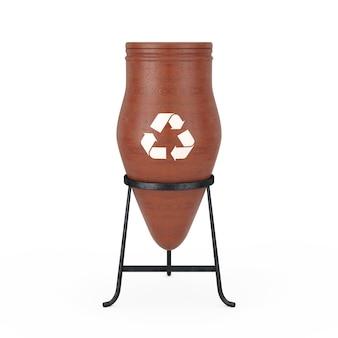 Clay trash bin pot ze znakiem kosza na białym tle. renderowanie 3d